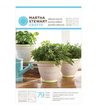 """Martha Stewart Adhesive Stencils 5-3/4""""X7-3/4"""" 2 Sheets/Pkg-Condensed Alphabet 79 Designs"""