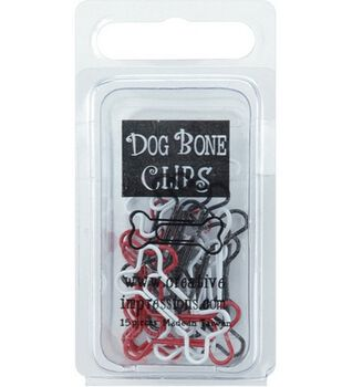 Painted Metal Dog Bone Paper Clips-Red/White/Black