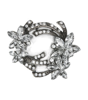 Laliberi Flower in Antique Silver Rhinestone Pin