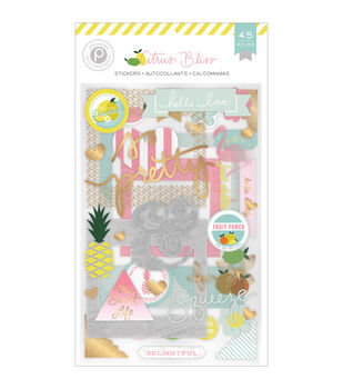 Pink Paislee Citrus Bliss Chipboard Stickers