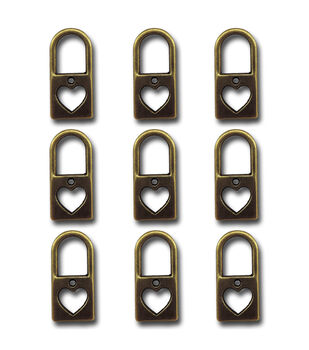 Maya Road Heart Locks Vintage Metal Charms