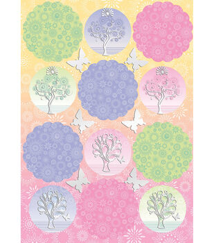 Kanban Crafts Seasons Die-Cut Punch-Out-Woodland Toppers Pink