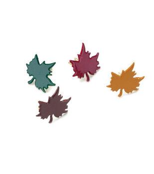 Painted Metal Leaves Paper Fasteners-50PK/Fall