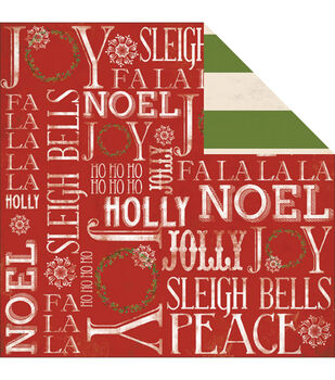 "Sleigh Bells Ring Double-Sided Cardstock 12""X12""-Noel"