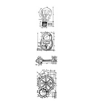 Stampers Anonymous Mini Industrial Blueprints Strip Cling Stamps