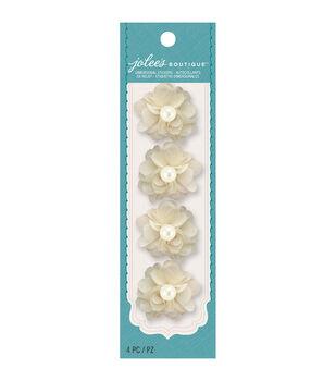 Jolee's Boutique - Cream Burlap Pearl Mini Flowers