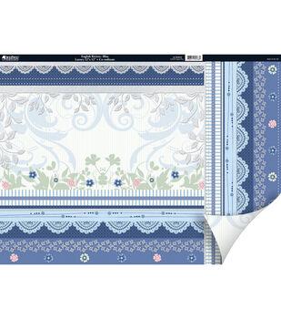 "Kanban Crafts English Riviera 2-Sided Cardstock 12""X12""-Blue"