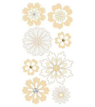 Dimensional Stickers-Cream & Sugar Flowers