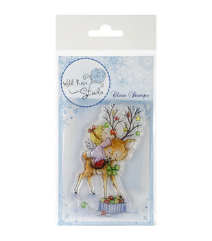 "Wild Rose Studio Ltd. Clear Stamp 3.5""X3"" Sheet-Angel On Reindeer"