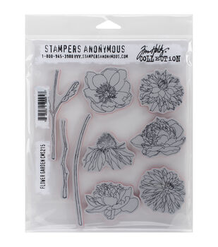 Stampers Anonymous Flower Garden Cling Rubber Stamp Set