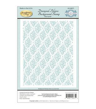 JustRite Papercraft Cling Background Stamp Diamond Filigree