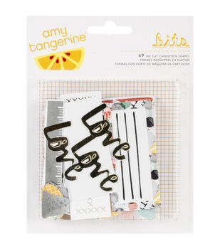 American Crafts Amy Tangerine Shapes Stitched Cardstock Die Cuts