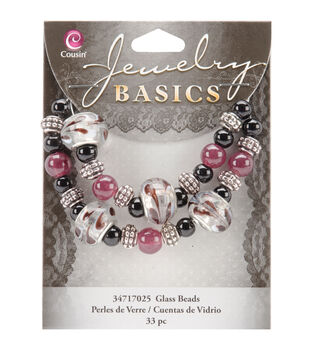 Jewelry Basics Large Hole Glass Bead Mix 33/Pkg-Black/Purple