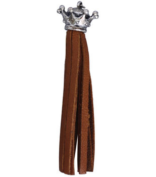 Silver Creek Crown Leather Tassel 1/Pkg-Saddle Tan