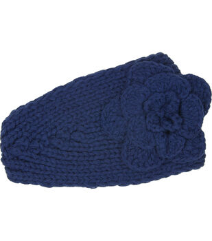 Laliberi Winter Knit Flower Headwrap In Cobalt