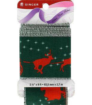 "Singer Christmas Reindeer Satin Ribbon - 2 1/2"" x 9ft."