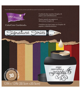 "Core'dinations Graphic 45 Signature Cardstock Asst 12""X12""-30/Pkg-10 Colors/3 Each"