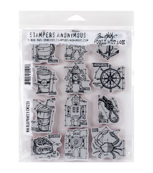 Stampers Anonymous Tim Holtz Mini Blueprints #9 Cling Rubber Stamp Set