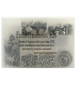 Embellishment Kit W/Brads, Eyelets & Clips, 175 Pc