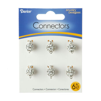 White Pavé Bead Jewelry Connectors w/Clear Crystals, 10mm, 6pc/pkg