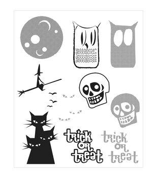 "Tim Holtz Cling Rubber Stamp Set 7""X8.5""-Halftone Halloween"
