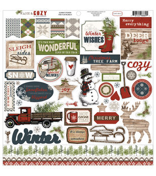 Carta Bella Warm & Cozy Element Cardstock Stickers