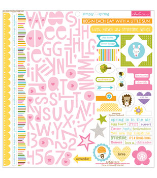 Bella Blvd Simply Spring Treasures & Text Cardstock Stickers