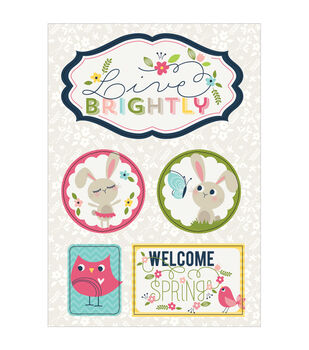 Imaginisce Welcome Spring Live Brightly Dimensional Stickers