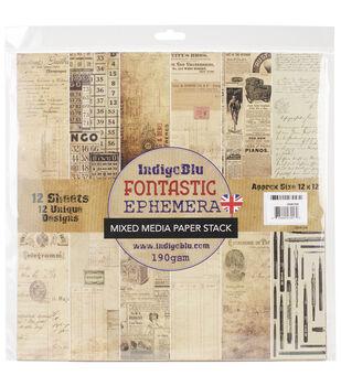IndigoBlu Fontastic Ephemera Paper Stack Cardstock 12''x12''