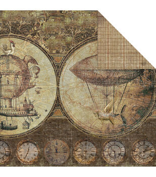 Fabscraps Airships - Gentlemens Double Sided Cardstock