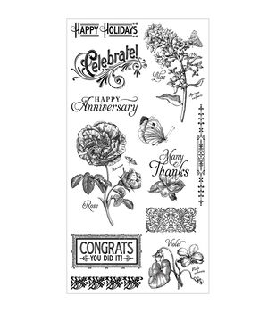 Graphic 45 Time To Flourish #2 Cling Stamps