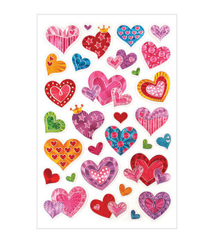 Forever In Time Laser Hearts Embossed Stickers