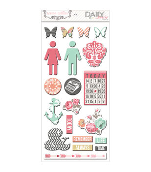 """Daily Stories Adhesive Chipboard 12""""X6"""" Sheets 2/Pkg-Elements"""