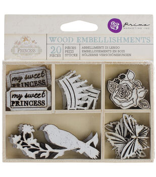 Princess Laser Cut Wood Icons In A Box 20 Pieces-6 Styles Of embellishments