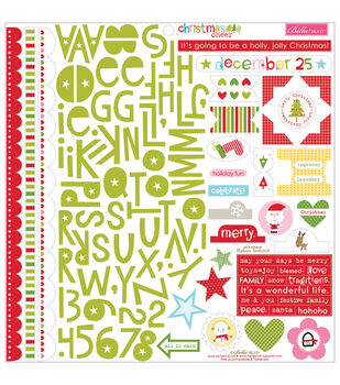 "Christmas Cheer Cardstock Stickers 12""X12""-Treasures & Text"