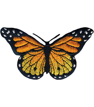 "Wrights Iron-On Appliques-Monarch Butterfly 3""X1-3/4"" 1/Pkg"