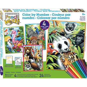 Dimensions Pencil Works Color By Number Kit Animal Collage