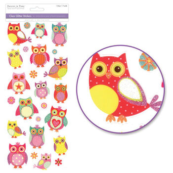 Multicraft Imports Glitter Everyday Stickers Owls