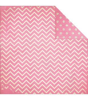 "BoBunny Double Dot Chevron Double-Sided Cardstock 12""x12""-Passion Fruit"