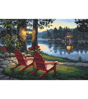 """Paint By Number Kit 20""""X14""""-Adirondack Evening"""