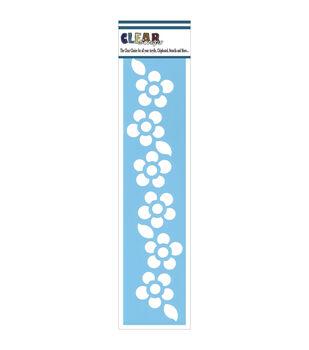 "Clear Scraps Border Stencils 3""X12""-Floral 1"