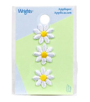 "Wrights Iron-On Appliques-White Daisies 5/8"" 3/Pkg"