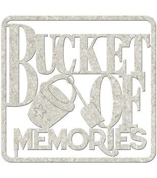 """Die-Cut Gray Chipboard Word-Bucket Of Memories 4""""X3.5"""""""