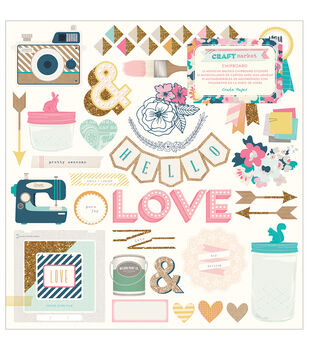 Crate Paper Craft Market Accents Chipboard Stickers