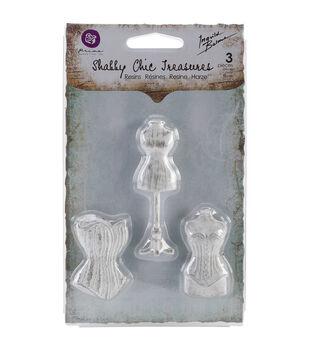 Shabby Chic Treasures Resin embellishments-Mannequins 3/Pkg