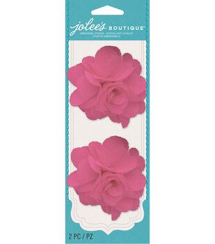 Jolee's Boutique - Bright Pink Burlap Flowers Gems