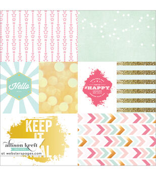 Webster's Pages #HAPPY Keep It Real Vellum Cards 12''x12''