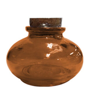 Art-C Amber Glass Bottle with Cork Topper Small