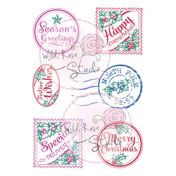Wild Rose Studio Clear Stamp Sheet Christmas Labels