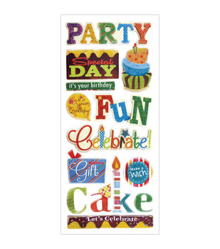 Forever In Time Birthday Fun Glitter Elements Stickers Sheet